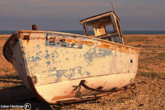 Catching the Sun (ShrubMonkey (Julian Heritage)) Tags: old abandoned beach out boat fishing solitude view decay bleach bleak beached dungeness isolation washed bleakness discarded stark left derelict deserted relic solace 5d2 fe25