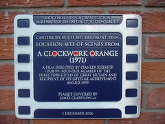 Photo of Stanley Kubrick and A Clockwork Orange film cell plaque