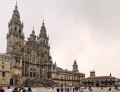 Catedral de Santiago de Compostela (St. James the Pilgrim Cathedral) (l plater) Tags: panorama españa spain galicia stjames ptgui catedraldesantiagodecompostela baroquefacade canon60d plazadoobradoiro panoramicstitch lplater torredelacarraca sigma2470mmf28ifexdghsm photoshopcs5 elobradoiro torredelacampaanas fernandodecasasynova