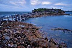 La Perouse Bare Island Fort, Botany Bay (seathelight_fineart) Tags: old longexposure morning bridge blue sea cloud seascape motion blur art texture water rock wall sunrise spectacular landscape island dawn bay pier movement fishing marine gate fishermen cloudy fort military horizon fineart ghost smooth wave windy australia pile hour bluehour lowtide fortification botany vignette floodlight headland 3x2 outpost laperouse bareisland missionimpossible2 redbubble seathelight photosarchive25012012