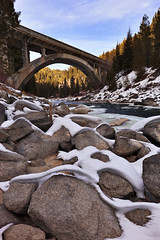 Grandpa's Bridge (Jared Ropelato) Tags: christmas bridge wild jared snow nature river landscape rainbow cabin rocks natural conservation idaho environment wilderness 55 rainbowbridge enviro 2011 highway55 holidaybreak ropelato jaredropelato ropelatophotography