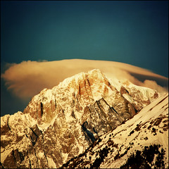 Golden morning over Mont Blanc (Katarina 2353) Tags: christmas new morning travel blue winter light vacation sky italy mountain snow ski alps film nat