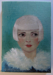 winter blue 1-6-12 (the brilliant magpie) Tags: blue woman art girl painting turquoise small canvas aceo blonde oil flapper etsy platinum amyabshierreyes