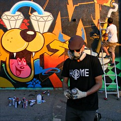 HOME is where the Art is (Dom Guillochon) Tags: california light usa abstract art home colors wall fun alley parkinglot mural paint shadows unitedstates sandiego couleurs urbanart artists spraypaint colori ladders northpark ombres allchrome domguillochon allchromeandcrew