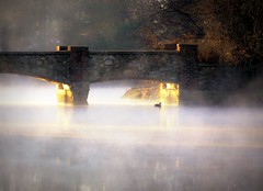 Misty Bridge Morning (Babylon and Beyond Photography) Tags: bridge sun sunlight mist lake water misty fog stone sunrise landscape dawn golden duck pond nikon day hidden rays argyle babylon alight babylonvillage nikond90 babylonandbeyond