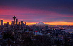 Finally a Sunrise at Kerry Park (Fresnatic) Tags: seattle pink winter colors mountrainier spaceneedle kerrypark mtrainier hdr cityskylines canonrebelxsi fresnatic