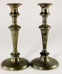 89. Antique Pewter Candlesticks