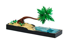 Hawaiian Paradise (Carson Hart) Tags: ocean tree brick beach water leaves carson hawaii sand lego palm hawaiian hart trans technique diorama
