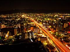 The Hanshin Expressway (tai_nkm) Tags: japan architecture night osaka nightview