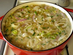 Seven Onion Soup on the Stovetop (rabidscottsman) Tags: food beer vegetables t recipe lunch soup iso400 salt 7 vegetable sugar eat foodporn butter seven squareformat meal garlic pointandshoot onion greenonions shallots chives liquid day21 thyme dunkel leeks blackpepper redonions f35 foodblog dutchoven foodphotography chickenstock vidaliaonion beefstock twitter 115th 89mm scotthendersonphotography beerinfood