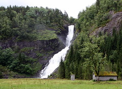 Huldefossen beside E39 (faster2007) Tags: house norway waterfall huldefossen shackwithaheart