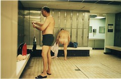 The Mysteries Of The Male Changing Room Revealed (deepstoat) Tags: colour sorry pool swimming 35mm kodak candid yashicat5 behind trunks toomuch