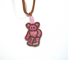 Teddy bear Pendant (TUKON by Vered) Tags: bear pink brown recycled embroidery vinyl camel fabric teddybear mustard etsy scraps embroidered pendant threads upcycled