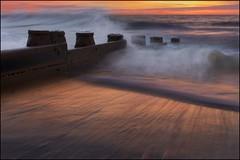 The evening tide (adrians_art) Tags: longexposure sunset sky cloud motion beach coast waves tide brine shore eastbourne eastsussex groynes seawater