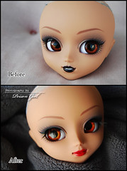 Before / After - Pullip Batgirl (-Poison Girl-) Tags: girl doll dolls makeup lips groove lip pullip batgirl poison custom commission pullips catwoman poisongirl customs faceup junplanning pullipcustom hysl pullipcatwoman pullipbatgirl