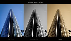 The Bow Multiplied (Witty nickname) Tags: windows bw 3 building calgary tower glass collage vertical sepia skyscraper buildings three triptych wide tokina alberta triple photocollage thebow encana encanatower nikond90 tokina1116mmf28 yourockwinner encanatowerthebow thebowmultiplied