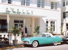 Classic Thunderbird South Beach (Phillip Pessar) Tags: camera film analog minolta florida kodak miami 110 400 expired thunderbird ultra kodak400 autopak 460t