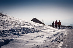 Breeze (Hvala Iztok) Tags: road sky people house snow building nature outdoors photography photo dof image wind snowy path hill picture sunny capture breeze clearsky steep threepeople canonphotography canon40d iztokhvala canondslriztokhvala