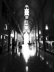 Fisher Building (karstenphoto) Tags: county new city bw white black building art beauty silhouette architecture theater downtown noir state d decay michigan wayne detroit walkway fisher atrium deco blanc ricoh d12 rustbelt resurgence gr3