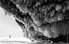 The Long Journey (Boreal Bird) Tags: winter blackandwhite seascape ice water frozen alone lakesuperior apostleislands icecaves thelongwinter apostleislandsicecaves maryamerman prettydangamazing