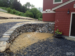 WM Brian Post 9, retaining wall, flat cap stones, dry laid stone construction, copyright 2014
