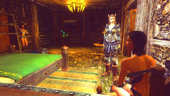 203 (Beth Amphetamines) Tags: wallpaper cute outfit screenshot mod kat dragon time beth champion armor freckles brunette invasion distant traveler follower serana khajiit meinthegame skyrim mrissi evittalex