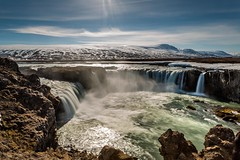 Godafoss Iceland (Einar Schioth) Tags: summer sky cliff cloud snow ice nature water sunshine clouds canon coast photo waterfall iceland day outdoor ngc picture canyon sland nationalgeographic godafoss goafoss skjalfandafljot einarschioth
