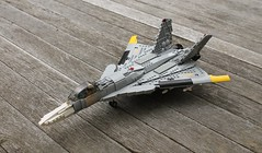 "J-44 ""Fandance"" (Matt Hacker) Tags: yellow fighter lego nosferatu ace jet inspired delta creation su missile dorsal combat 13 27 bays own canard moc fandance flanker j44 cfa44"