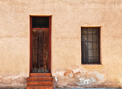 In Barrio Viejo (studioferullo) Tags: street door old city arizona house building history classic texture window lines buildings outdoors town downtown tucson steps historic adobe barrio barrioviejo