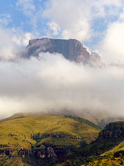Majestic Drakensburg peak thru the Clouds (captainmorganme) Tags: cloud mountains southafrica peak cathedralpeak unspoiled drakensburg