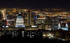 Salt Lake City, Utah (Jim Boud) Tags: streets building night dark temple lights evening utah downtown cityscape capitol saltlakecity valley mormon lds mormontemple saltlaketemple utahstatecapitol saltlakevalley scyscrapers thechurchofjesuschristoflatterdaysaints canon70200mm utahcapitol canonef70200mmf4lusm jimboud wasatchvalley canoneos60d