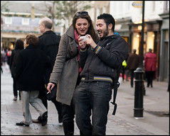 one... (jonron239) Tags: boy woman man london girl laughing fun couple smoking coventgarden makingfaces tongues takingpictures gurning iphone selfies