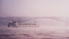 Fog In The Morning (_David_Meister_) Tags: morning bridge water fog river germany deutschland wasser ship purple lila brcke fluss rhine rhein mainz morgen schiff violett neben theodor heuss platinumheartaward foginthemorning davidmeister