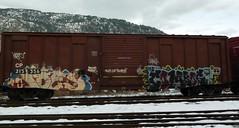 P1150840  Ides Combos (arrowlakelass) Tags: railroad canada art graffiti bc rail railway freight boxcars combos ides castlegar 1000000railcars