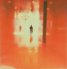 (theonlymagicleftisart) Tags: seattle polaroid library alien hallway ethereal redroom closeencounters instantfilm colorshade px70 impossibleproject