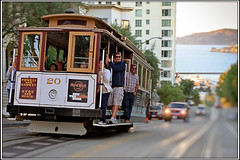 [Classic SF Shot]:  The Cable car (SergeK ) Tags: world sanfrancisco california city usa bus cars public car last speed train t design moving 1930s unitedstates native country transport tram rail railway cable running icon system muni transit vehicle mass streetcar westcoast californiastreet built ville municipal sfmuni californie constant vehicule pcc streetcars successful northamerican cablerailway longlasting hauled continuously funiculars sanfranciscomunicipalrailway stlouiscarcompany sergek thepccpresidentsconferencecommittee countyf