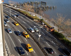FDR Drive, East Harlem, New York City (jag9889) Tags: city nyc ny newyork cars yellow river drive harlem manhattan taxi east spanish walkway pilings eastharlem elbarrio spanishharlem cabs fdr greenway 2011 y2011 jag9889