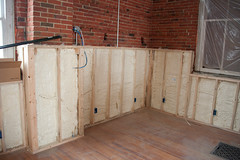 Knee wall for tall knees (EyePulp) Tags: brick illinois construction unitedstates interior object plumbing insulation location structure manmade framing electrical studs 2x4 lumber remodeling naturalgas towanda gaspipe churchhome closedcellfoam