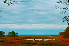 A Folded Sky (SunnyDazzled) Tags: ocean autumn sea sky storm fall beach nature colors strange weather clouds landscape coast seaside salt maine stormy wells atlantic estuary fields marsh unusual rachelcarson wildlifepreserve