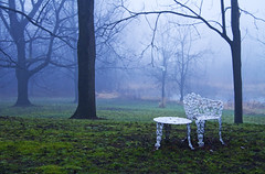 Moody (Matt Champlin) Tags: old blue mist strange misty fog rural table cool ancient december mood moody tea antique country foggy retro mysterious getty lawnchair coolblue skaneateles 2011 lawntable