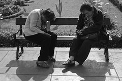 Summertime Siesta (On the Bench) (geezaweezer) Tags: street travel people bw peru bench lima barranco southamericantravel southamericanstreetphotography candidpeoplebench