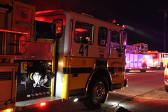 VCFD on scene of a working structure fire in Simi Valley, CA (crashdummytester) Tags: california county ford yellow truck fire working engine police victoria structure boom american valley multiple crown explosions heavy department ventura simi fully embers lafrance involved sirens exposures vcfd svpd
