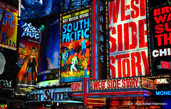 West Side Story (Rafakoy) Tags: city nyc light urban signs chicago ny newyork color colour colors sign night digital lights colours manhattan broadway timessquare southpacific late westsidestory theatredistrict nikond90