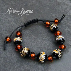 """Tiger wig wag beads Lampwork Bead Bracelet on cord • <a style=""""font-size:0.8em;"""" href=""""https://www.flickr.com/photos/37516896@N05/6499722977/"""" target=""""_blank"""">View on Flickr</a>"""