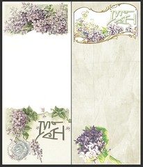 Vintage Notepads (Becky Simmons) Tags: flowers vintage print graphicdesign purple artnouveau gift present mh stationary notepad initials