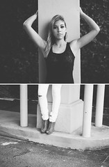 Foundations | Vian (PointBlankEmilyy) Tags: bw white black girl concrete vines grain denim column ybor wedges laceup