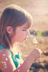 Girl blowing a Dandelion (Party of Five 2014) Tags: sunset summer girl children outside colorful child sweet profile may sunny blowing dandelion getty sundress sunflare partyof5ive