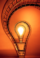 bulb (Dennis_F) Tags: city light red orange colors up sign bulb zeiss idea licht warm stair prague sony capital wide creative prag praha images tschechien treppe staircase stadt getty ar