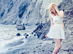 May (tianxiaozhang) Tags: portrait cliff beach girl 50mm sand afternoon dress location ef5014 eos60d
