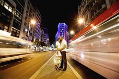 Love in the city (Dusan Marceta) Tags: city bus love lights kiss longexp